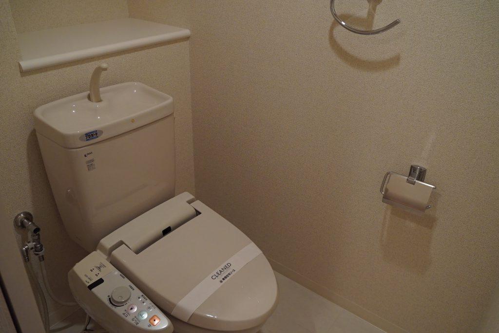 写ってませんが、上部に扉付きの棚あります。トイレのものはトイレに収納。
