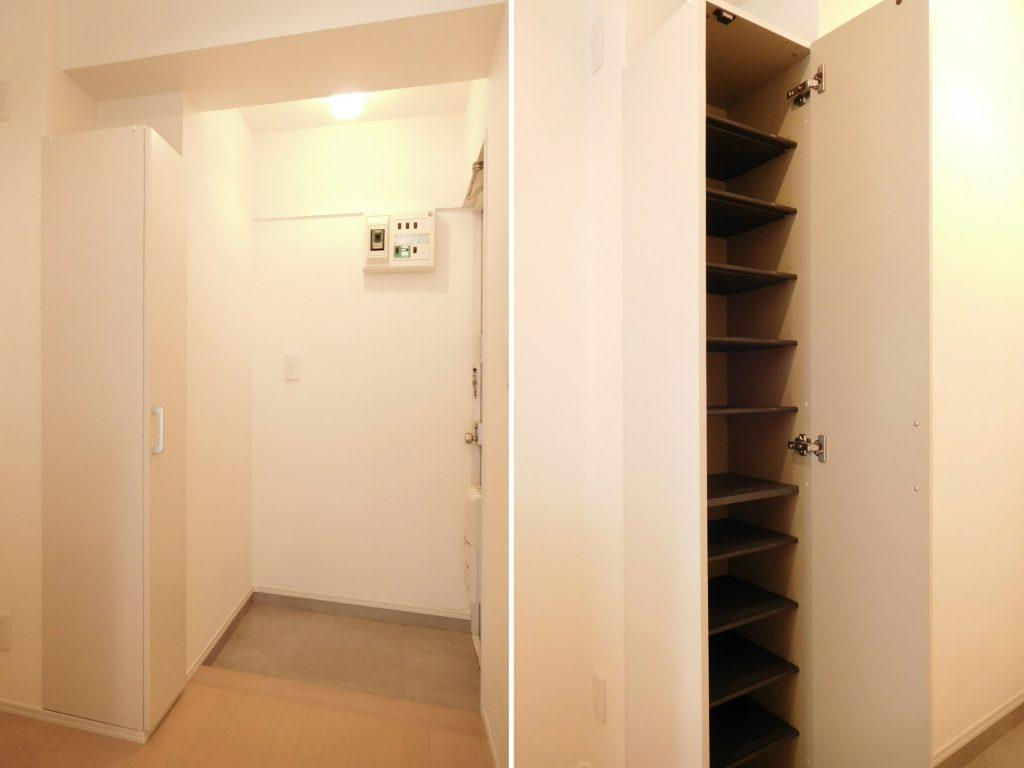 玄関はゆったりサイズに、スマートなシューズボックス