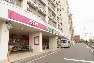 駅を出て、環七を渡りスーパーを横切ります。