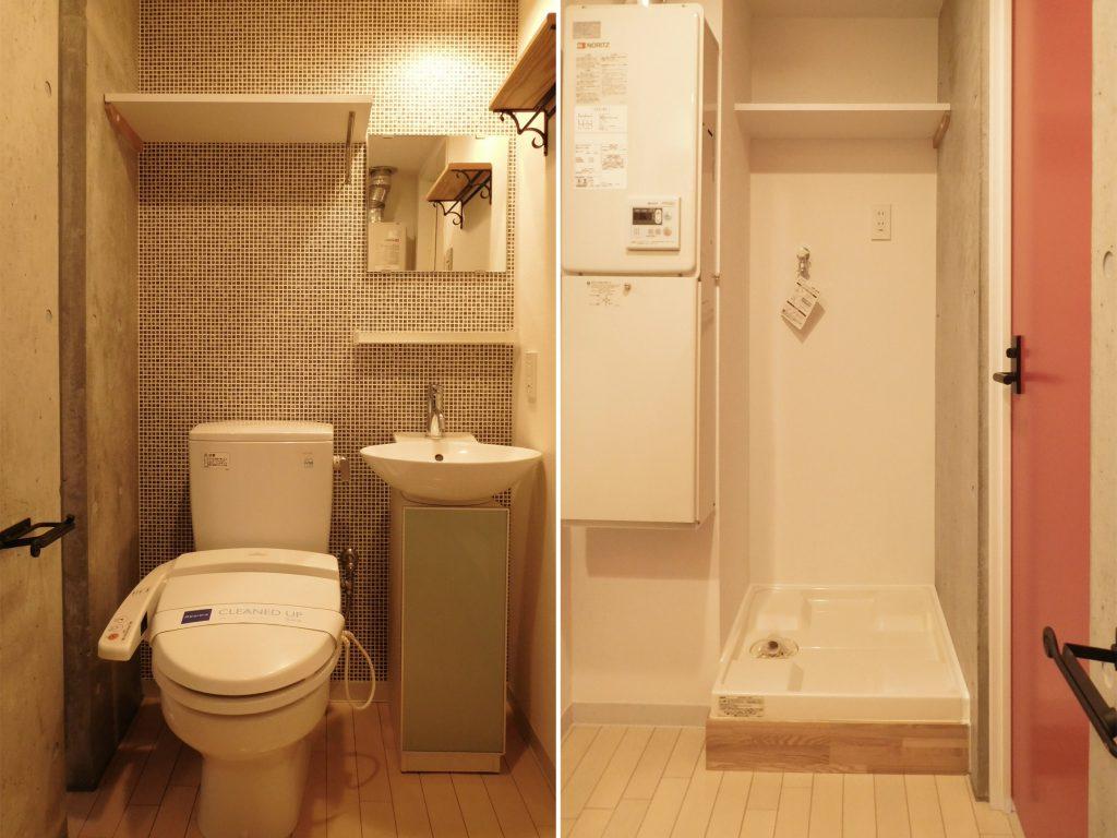 トイレなどの水まわりは玄関先にまとまっています