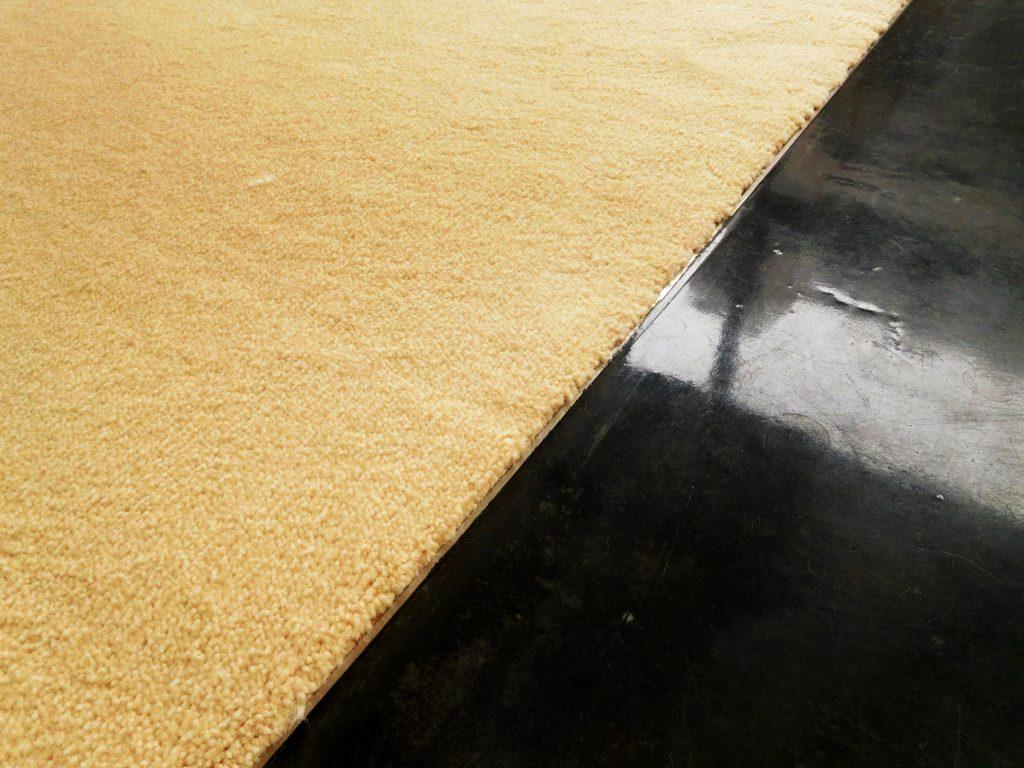 相棒のバイクには、道路を扮した黒い床面で。あなたには癒しのふかふかカーペットを。