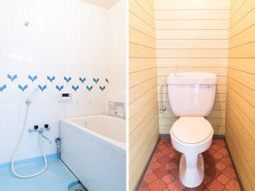 浴室とトイレは別。どちらもレトロな内装です。