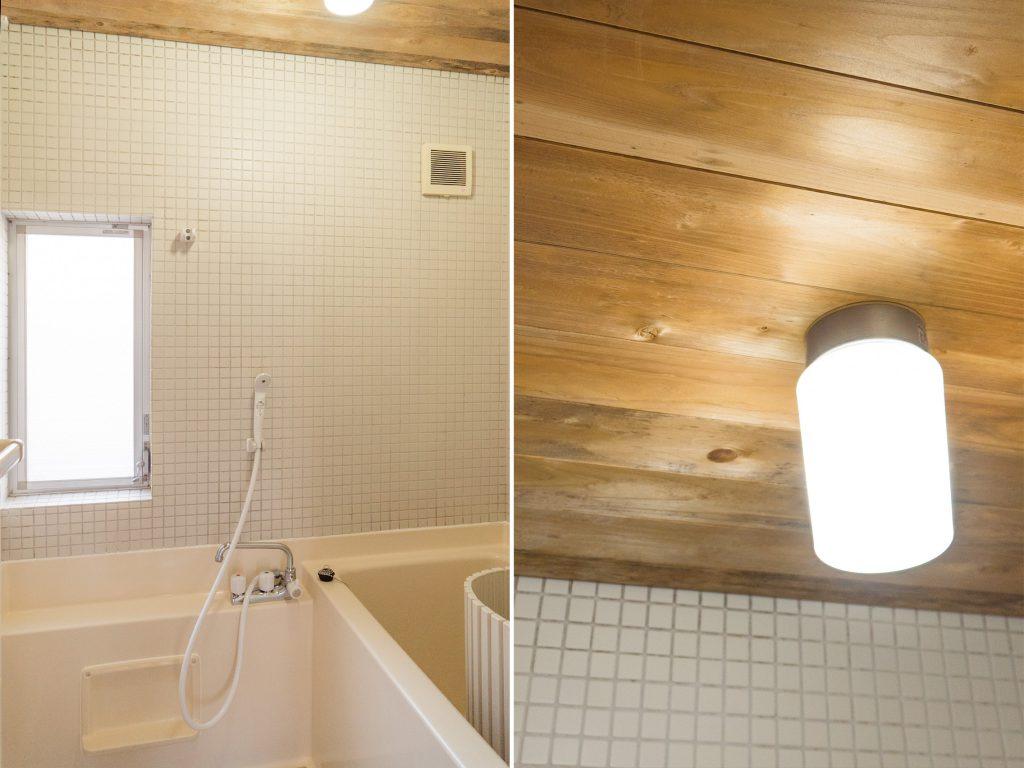 浴室は小さめ。水まわりの天井に貼られた木が魅力的。