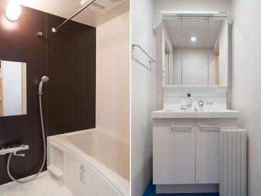 玄関入って左の空間にはお風呂と洗面台があります。