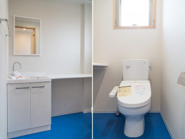 階段横の空間には、トイレと洗面があります。