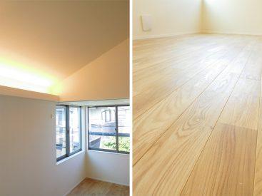 柔らかくお部屋を照らす間接照明と無垢フローリング。
