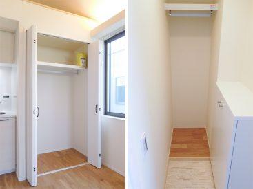 キッチン横のクローゼットと玄関正面のウォークインクローゼット。