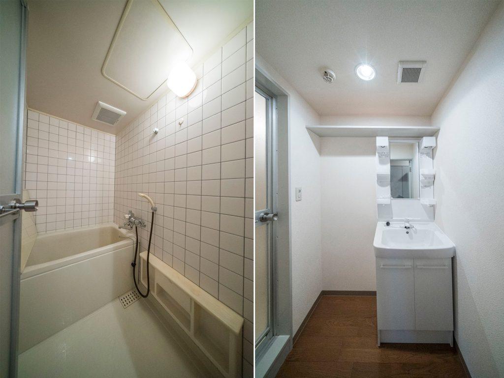独立洗面台で朝の準備もばっちり(風呂)
