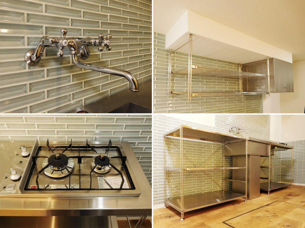 ステンレス材でまとまったキッチンです。