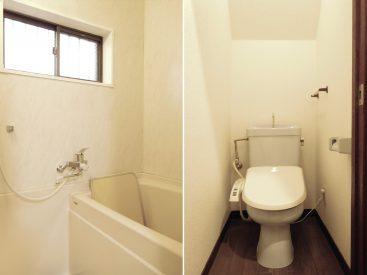 お風呂。トイレは階段下にありますが、きゅうくつさは感じません。