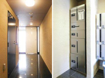 建物共用部。うれしい宅配BOXが設置されております。
