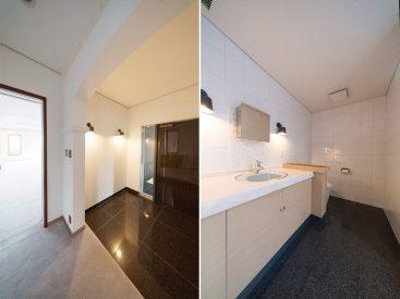 玄関はまるでホテルのエントランスのよう。トイレは下階にもあります。