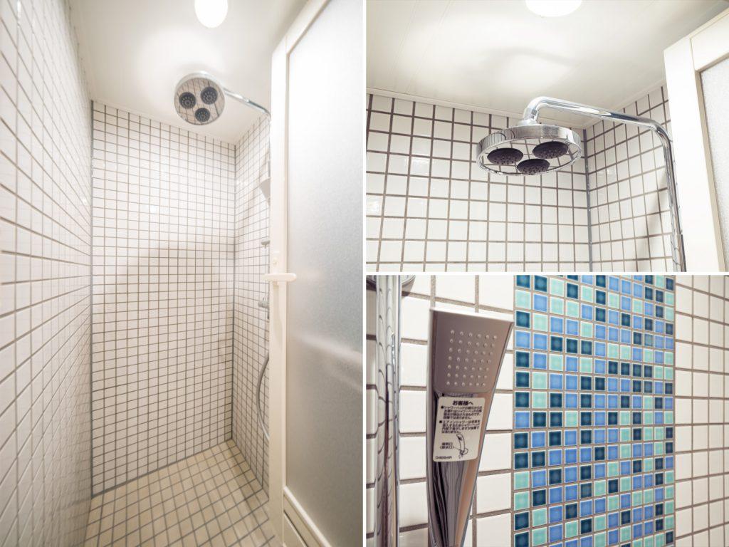 浴槽のないレインシャワーのお風呂。