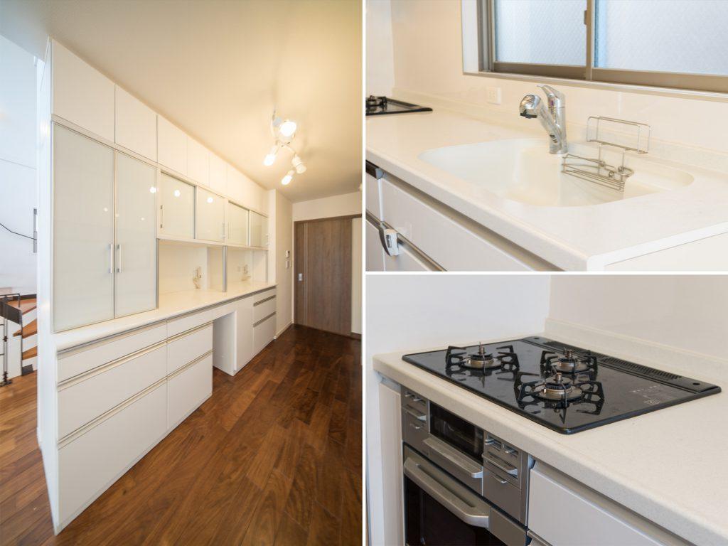 たっぷりと入る食器棚に、清潔な調理スペース。
