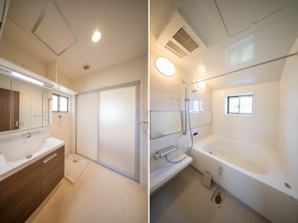 大きな洗面台に、家族で入れるゆったりとしたお風呂。