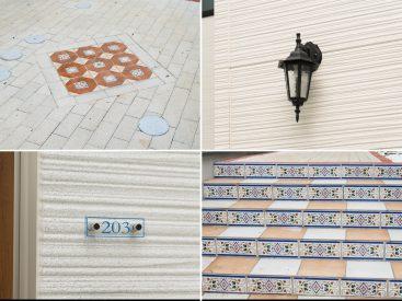 外観の装飾には西洋風のアイテムが散りばめられています。階段がかわいい!