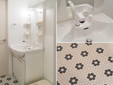 独立洗面台。床のデザインがいいアクセント。