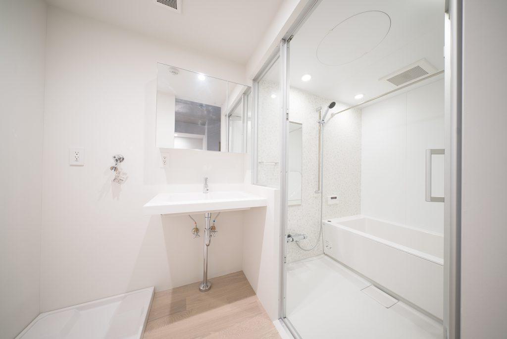 ガラスドアで仕切られたゆったりとしたランドリースペースとバスルーム。