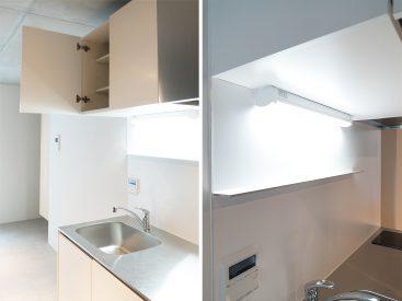 コンパクトなキッチンはIH。収納もしっかりついています。