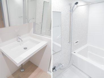 大きめの独立洗面台と広めのバスルーム。