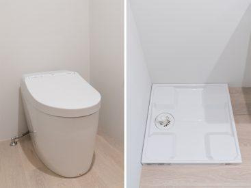 トイレと、室内洗濯機置場。