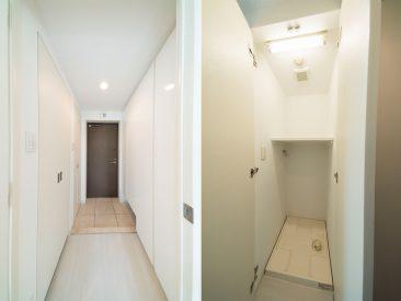 玄関周りの収納の1つが洗濯機置き場(玄関)