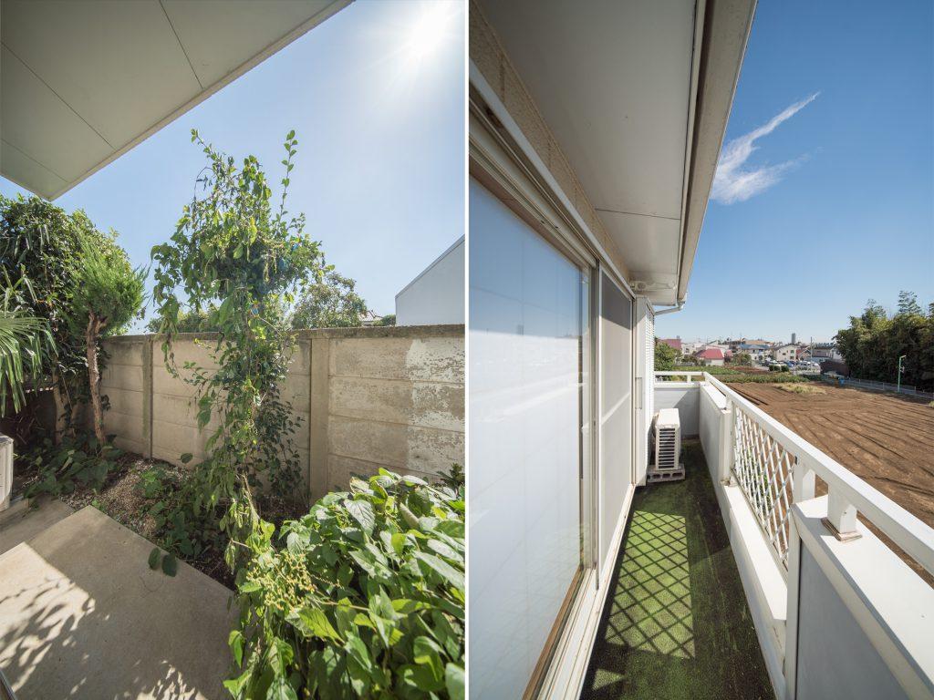 1階の小庭、2階のバルコニー。どちらも南向きで日当たりがいい。