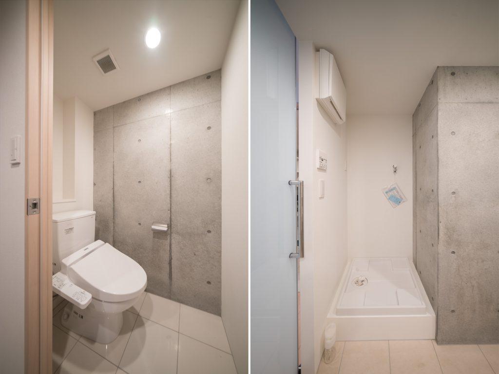 トイレは玄関先に。洗濯機置き場は洗面室に。