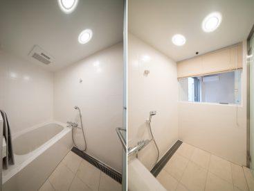 清潔感のあるお風呂。洋室側がガラス貼りで、開放感があります。