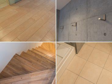 RC打ちっ放しの壁面に、木材やストーンタイルのアイテムがバランスのいい内装。