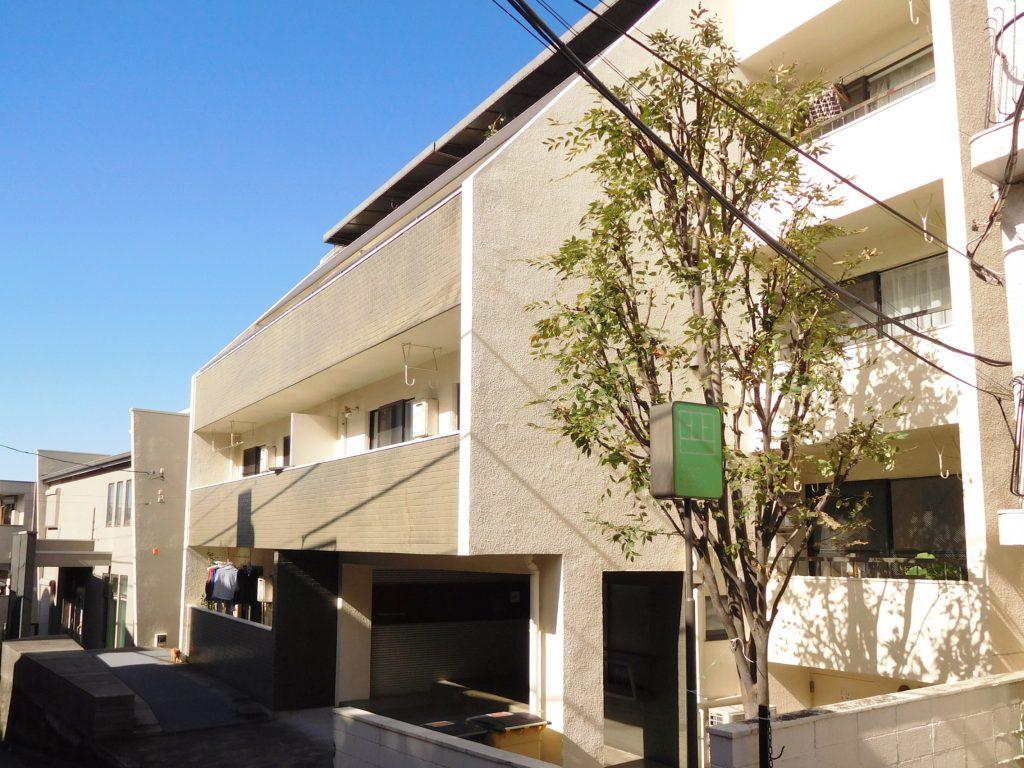 一本道沿いに建つ5階建マンション。