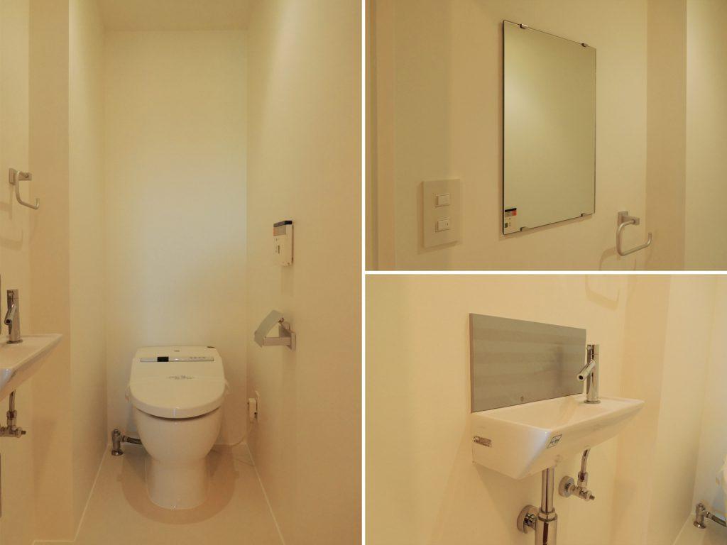 手洗いに鏡がついたトイレ。