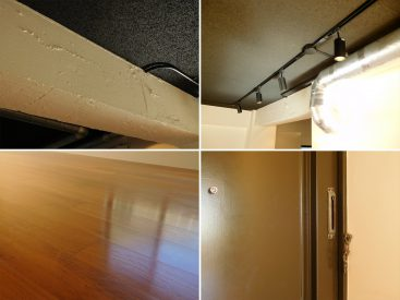 むき出しのダクト、リノベーション前の素材を残した玄関扉なんかもひと癖ある。