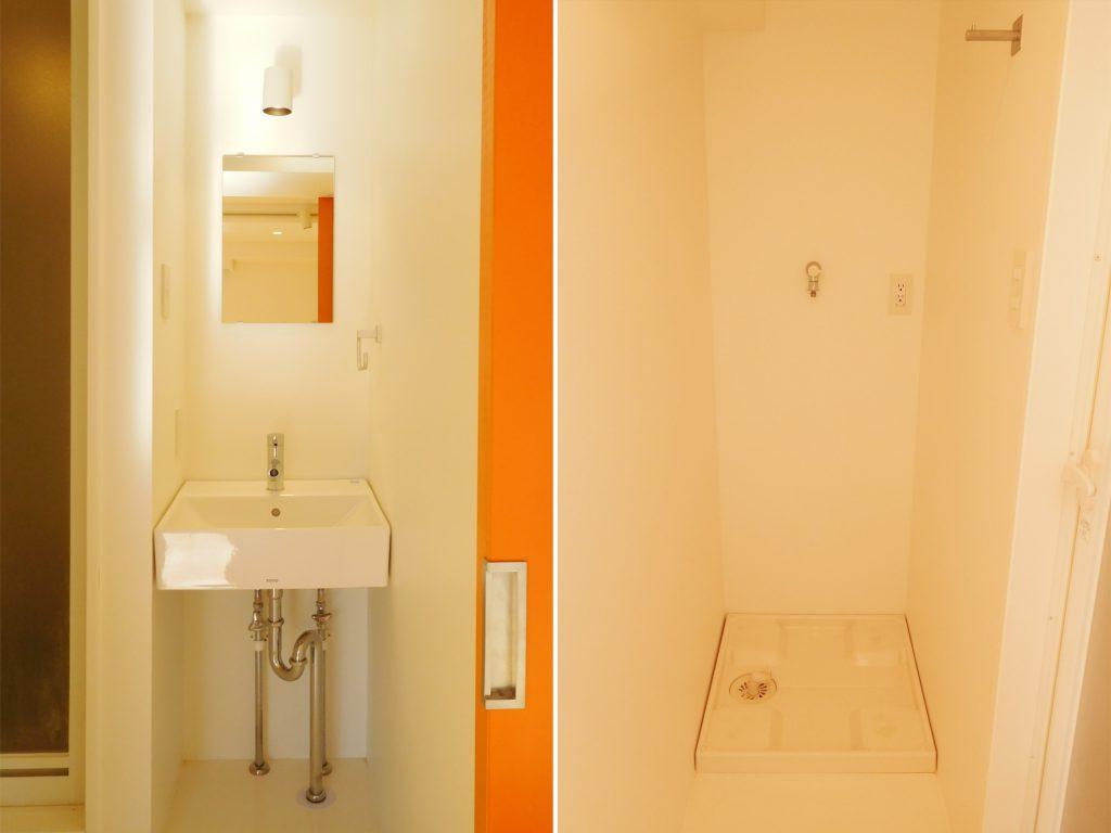 洗面と洗濯機置き場がすき間にすっぽりおさまってる!
