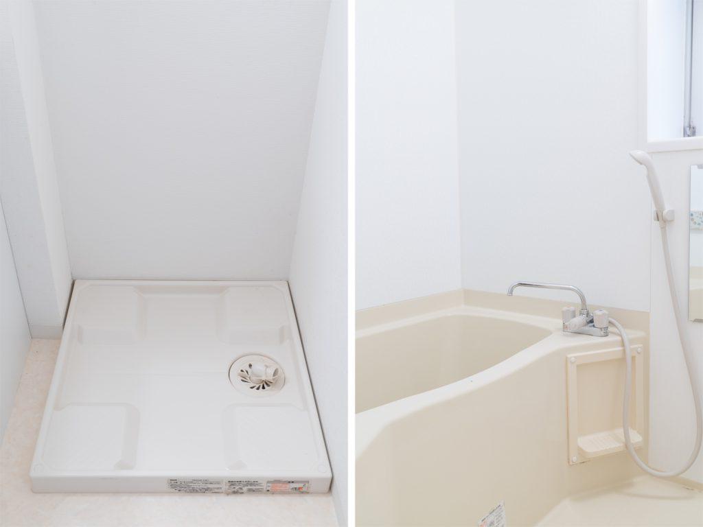 室内洗濯機置き場と、窓の付いたバスルーム。