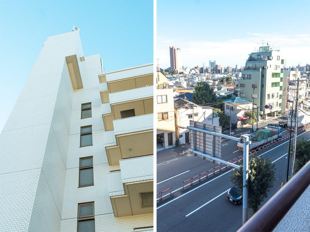 建物の外観。とベランダからの眺め。