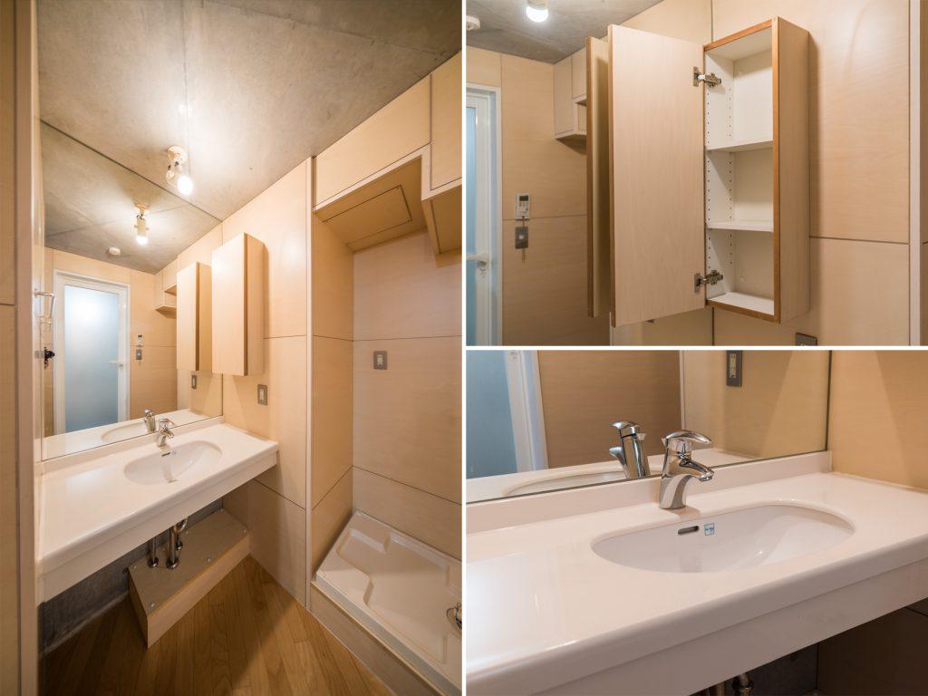 大きな鏡のついた洗面器。ゆとりのあるつくりが◎