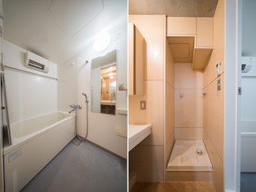 浴室乾燥機のついたお風呂、洗濯機置き場。