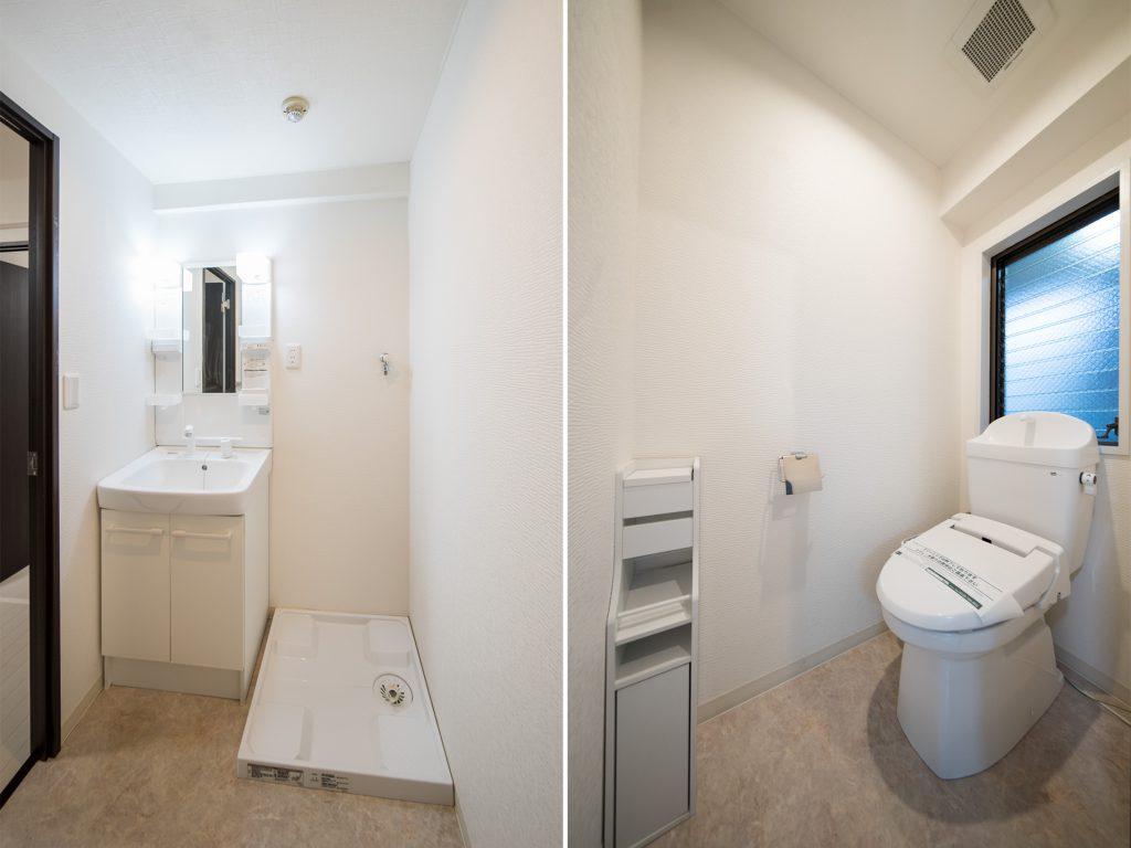 洗面台と洗濯機置き場。トイレは玄関の脇に!