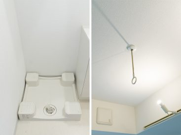 室内洗濯機置場と、室内干し用のフック。