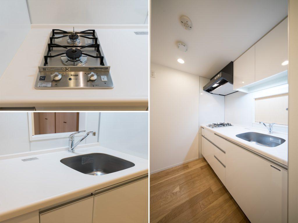 キッチンは玄関先の、2帖の個室に。