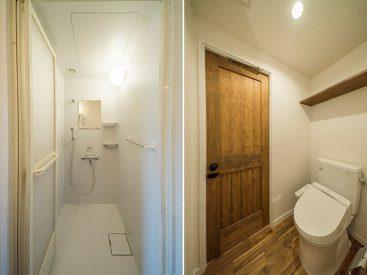 お風呂はシャワーのみ。トイレはオープンなつくり。