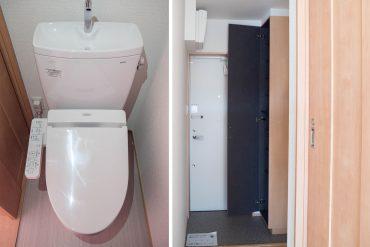 玄関左側にトイレ・天井までつづくシューズボックス(内装)