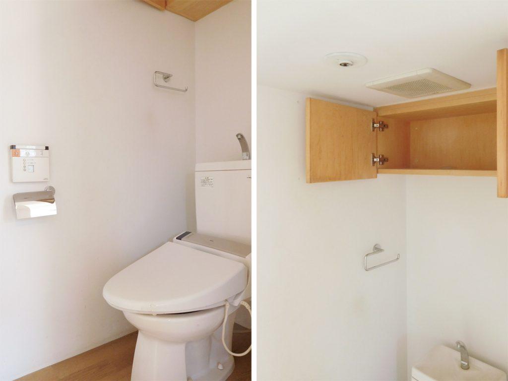 トイレにも収納。ここにも木のぬくもりが。