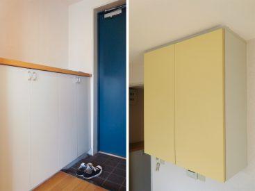 玄関の収納と、キッチン上にある吊り戸棚。