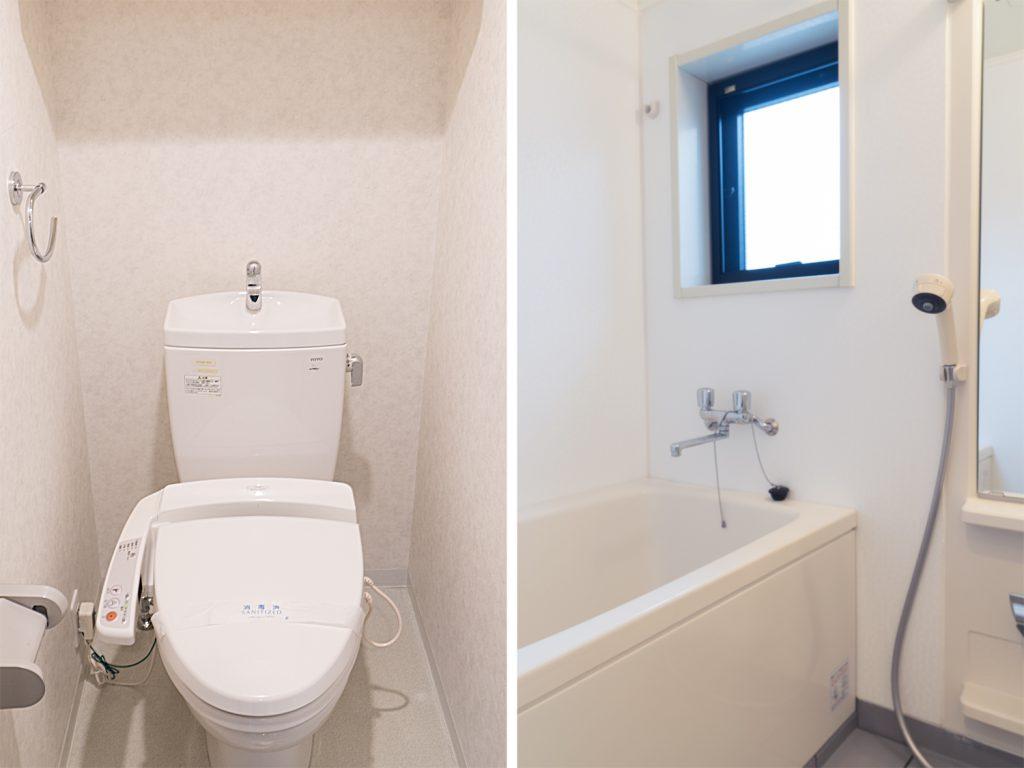 トイレと浴室。