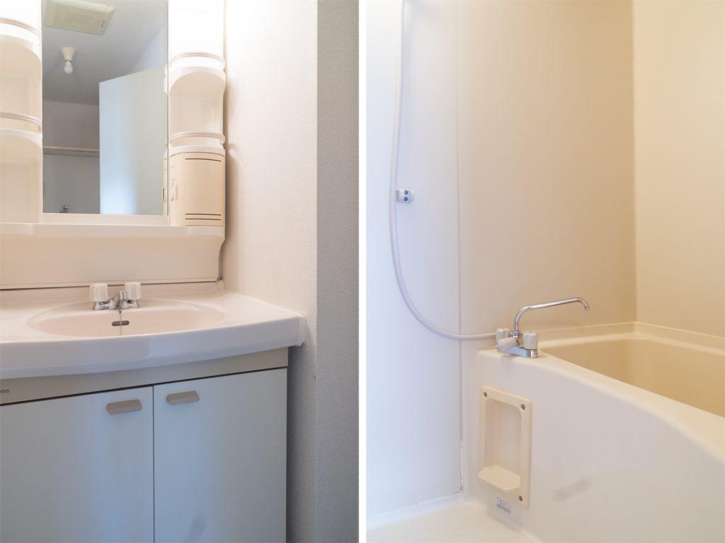 洗面台とバスルーム。