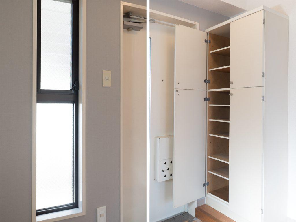 玄関横には窓、そして玄関にはシューズボックスが完備。