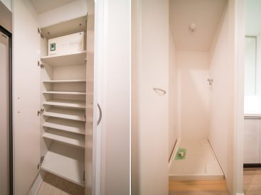 玄関先の、たっぷり入るシューズボックス。洗濯機置き場は扉で隠せます。