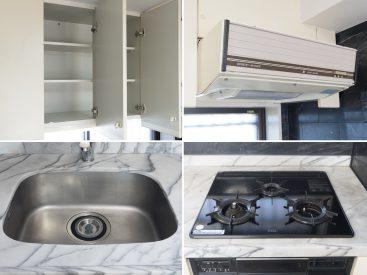 キッチンの設備。新しくはないけれど、文句無し。